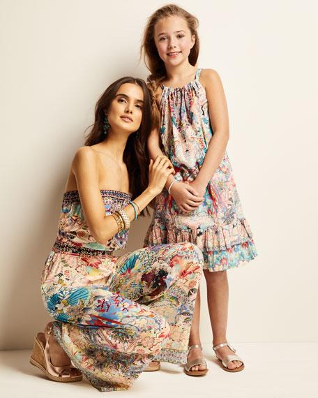 Camilla Ruffle-Trim Dragon & Koi Fish Print Dress, Size 4-10