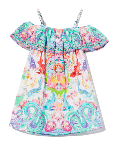 Ruffle-Trim Dragon & Koi Fish Print Dress  Size 4-10