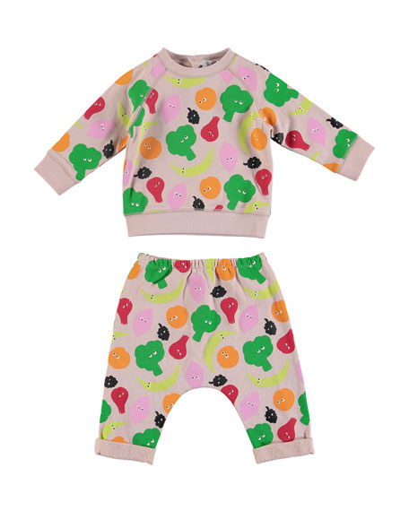 Stella McCartney Kids Fruit & Vegetable Print Sweatshirt w/ Matching Sweatpants, Size 6-36 Months