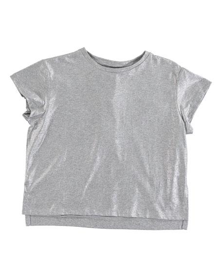 Stella McCartney Kids Silver Foil Short-Sleeve Tee, Size 4-14