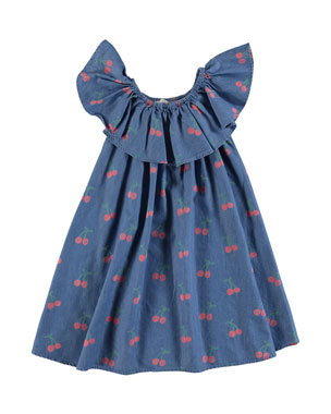 aeaf40042 Stella McCartney Kids Chambray Cherry-Print Ruffle-Collar Dress, Size 4-14