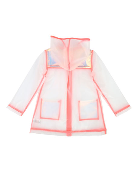 Billieblush Transparent Hooded Raincoat, Size 4-12