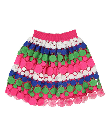 Billieblush Long Multicolored Lace Overlay Skirt, Size 4-12