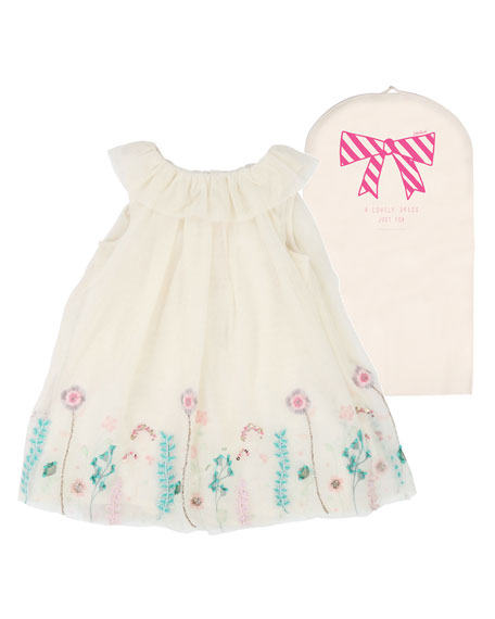 Billieblush Floral Embroidered Tulle Dress, Size 12M-3