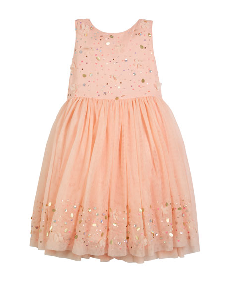 Billieblush Sequin Embroidered Tulle Dress, Size 4-12