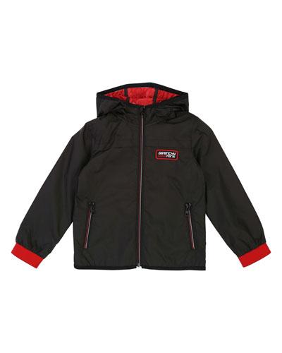 Hooded Lightweight Jacket w/ Logo Details  Size 4-10