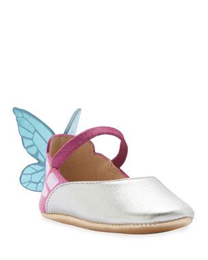 0630c863ac02 Sophia Webster Chiara Metallic Leather Butterfly-Wing Flats