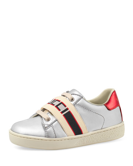 Gucci New Ace Gucci Band Metallic Leather Sneaker, Toddler