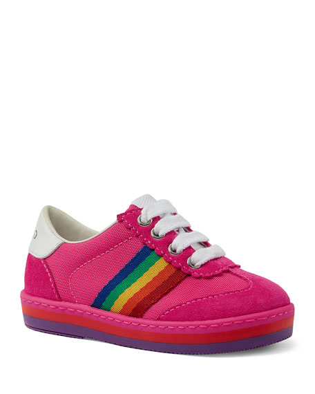Gucci Suede Rainbow Sides Sneakers, Toddler