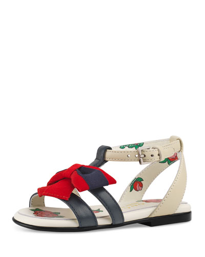 Jane Two-Tone Leather Web-Bow Sandal  Toddler