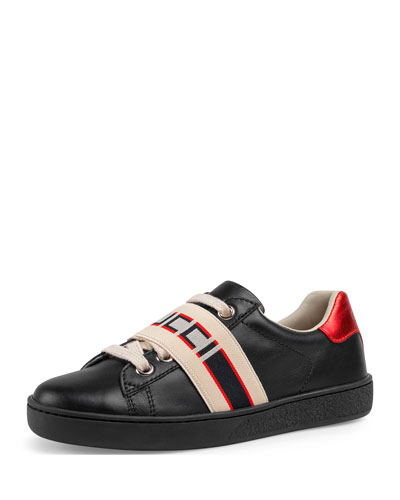 New Ace Gucci Band Leather Sneaker  Toddler/Kids