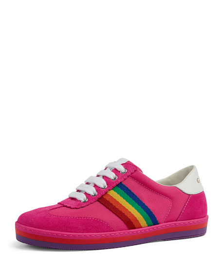 Gucci Suede Rainbow Sides Sneakers, Toddler/Kids