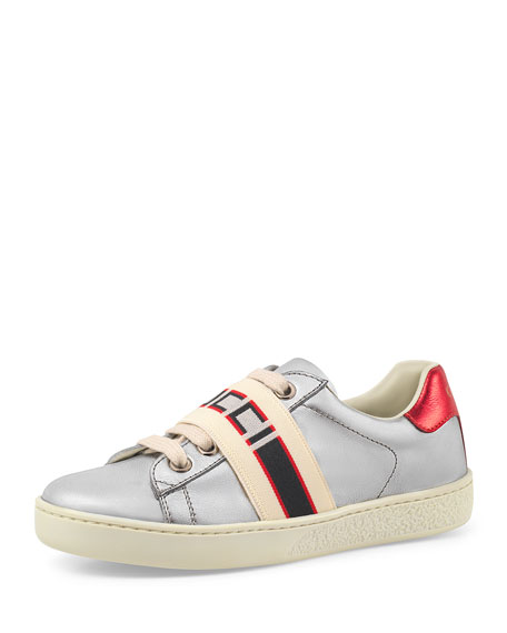 Gucci New Ace Gucci Band Metallic Leather Sneaker, Toddler/Kids