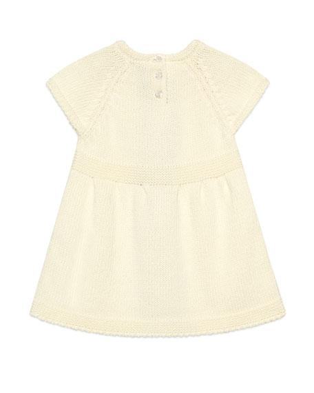 Gucci Short-Sleeve Knit Dress w/ Crochet Web Striped, Size 3-36 Months