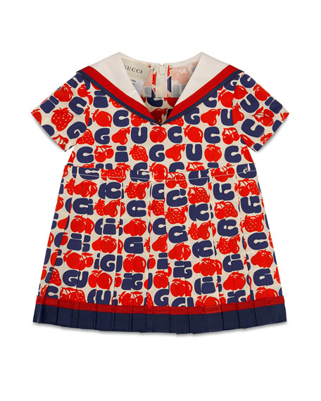 Gucci Logo Fruit-Print Pleated Dress, Size 9-36 Months