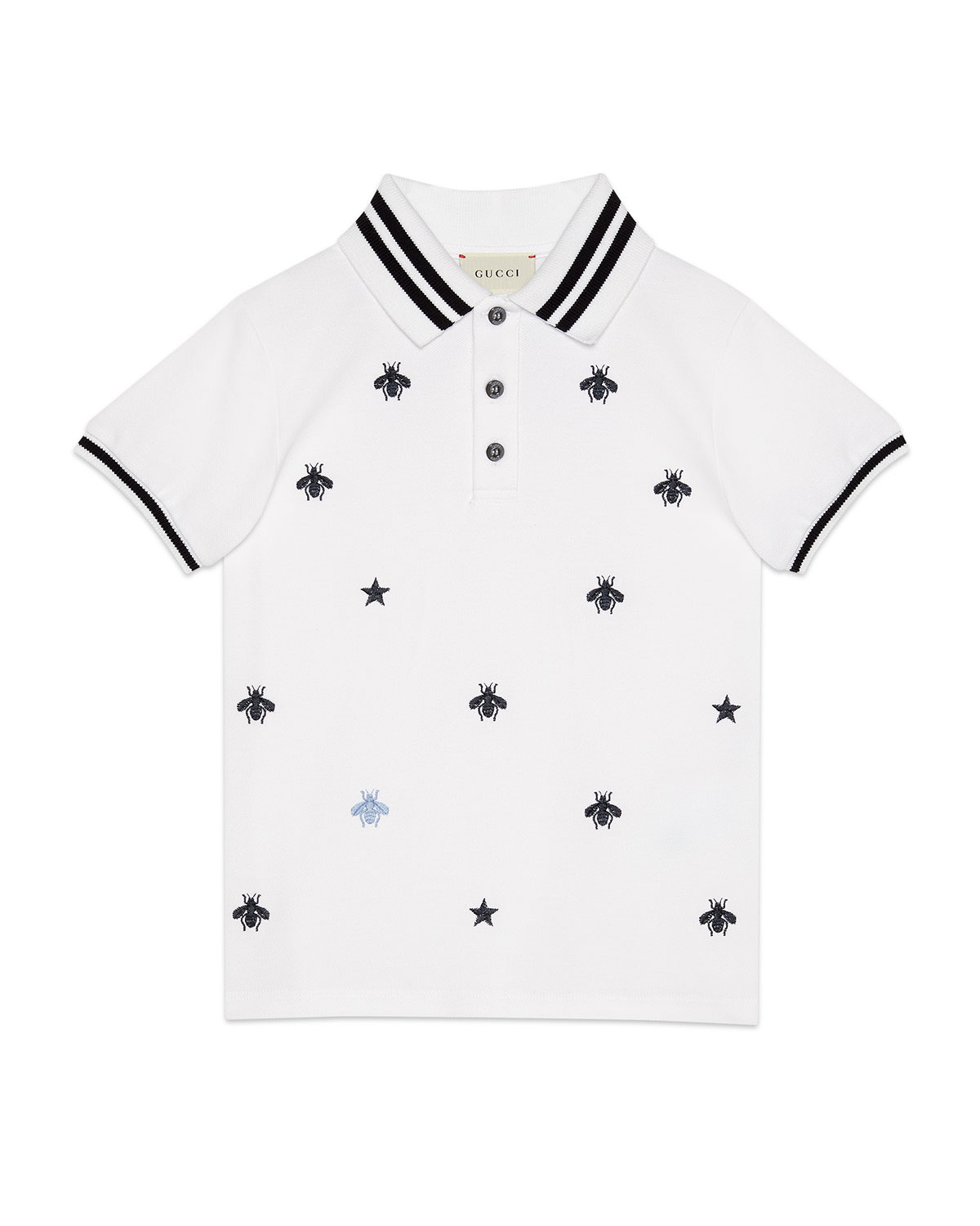 c125f342 Gucci Bees & Stars Embroidered Polo Shirt, Size 4-12 | Neiman Marcus