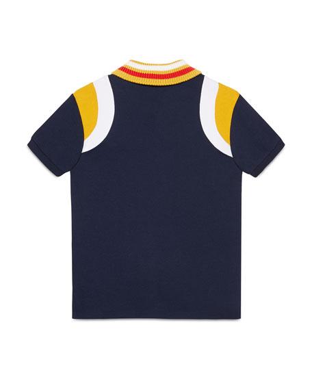 Gucci Colorblock Polo Shirt w/ Knit Collar, Size 4-12