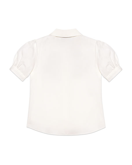 Gucci Puffy-Sleeve Collared Top w/ Logo Bow Applique, Size 4-12