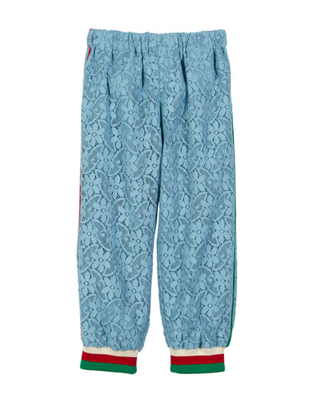 Gucci Lace Sweatpants w/ Striped Knit Ankle Cuffs, Size 4-12