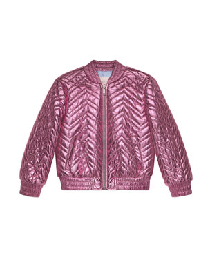 f2989873e Gucci Chevron Quilted Metallic Leather Bomber Jacket, Size 4-6