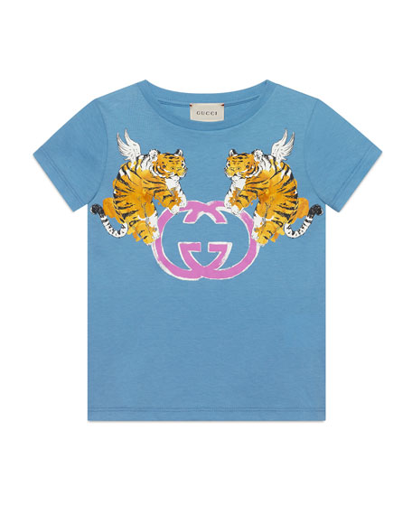 Gucci Double Tiger GG Short-Sleeve T-Shirt, Size 4-10