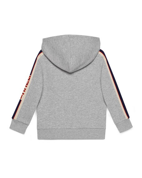 Gucci Zip-Up Hooded Jacket w/ Logo Taping, Size 4-12