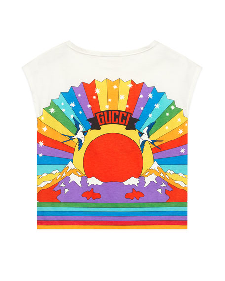 Gucci Rainbow Tiger Graphic T-Shirt, Size 4-12