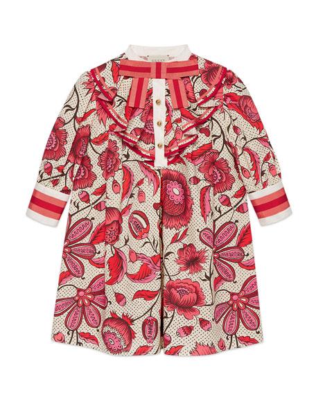 Gucci Poplin Floral Ruffle-Trim Dress, Size 4-12