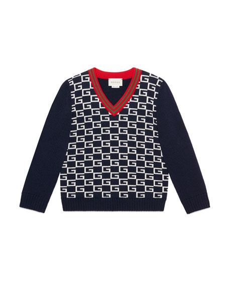 Gucci Logo Jacquard Wool V-Neck Sweater, Size 4-12