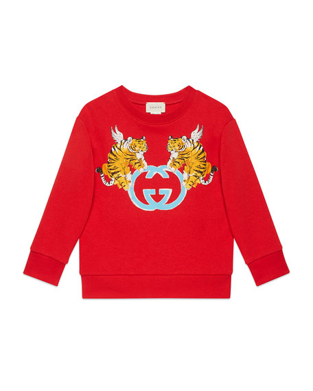 Gucci Double Tiger GG Sweater, Size 4-10
