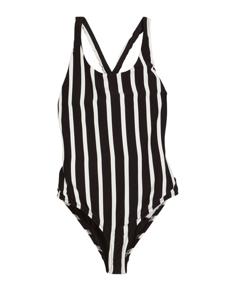Milly Minis Striped Scoop-Neck One-Piece Swimsuit, Size 4-6