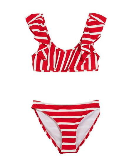 Milly Minis Striped Ruffle Pinafore Two-Piece Swimsuit, Size 4-6
