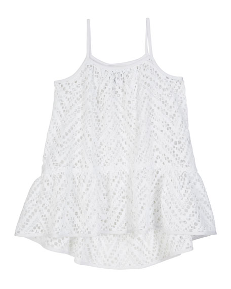 Milly Minis Chevron Crochet High-Low Coverup, Size 4-6