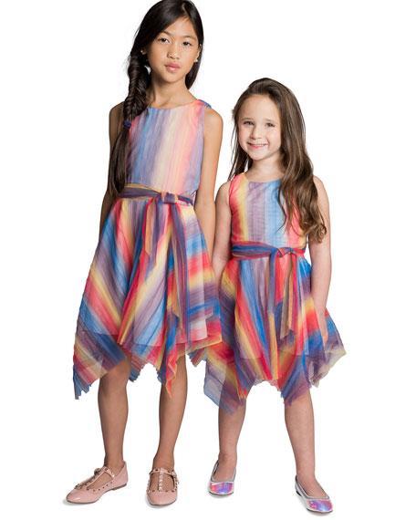 Summer Pleated Rainbow Mesh Handkerchief Dress, Size 7-16