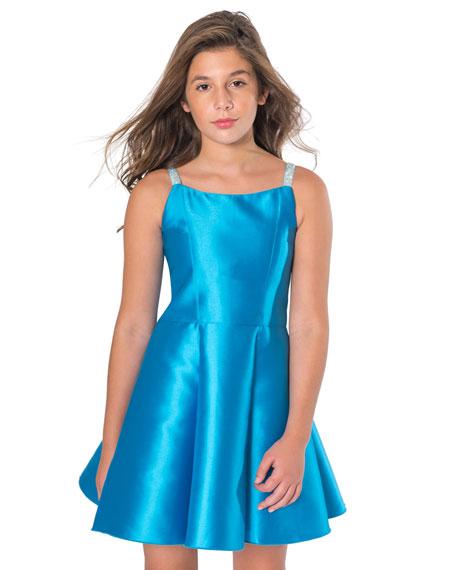 Zoe Jenna Matte Sateen Crystal-Strap Dress, Size 7-16