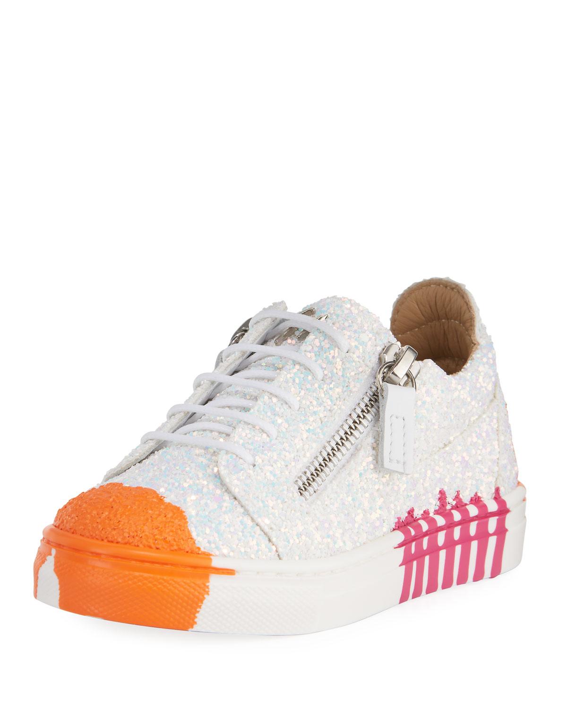 2eeb5557ac075 Giuseppe Zanotti Paint Splashed Glitter Low-Top Sneakers, Toddler ...