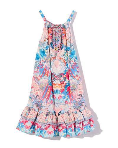 Patterned Frill-Hem Dress  Size 4-10