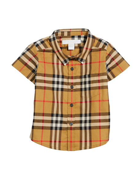 Burberry Fred Short-Sleeve Check Shirt, Size 6M-2