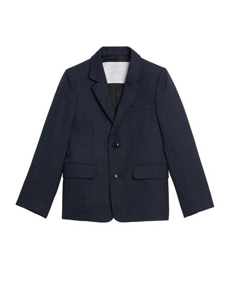 Burberry Windowpane Wool Tux Modern Blazer, Size 4-14