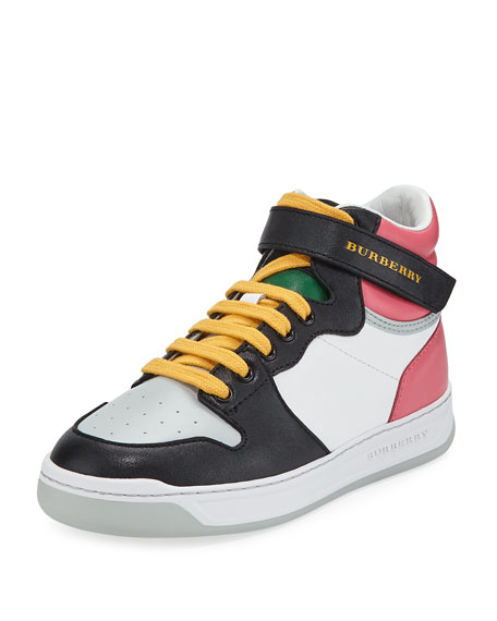 Burberry Duck Leather Colorblock High-Top Sneaker, Toddler/Kids