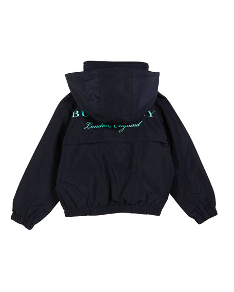 Burberry Easton Jacket w/ Pack Away Hood, Size 3-14