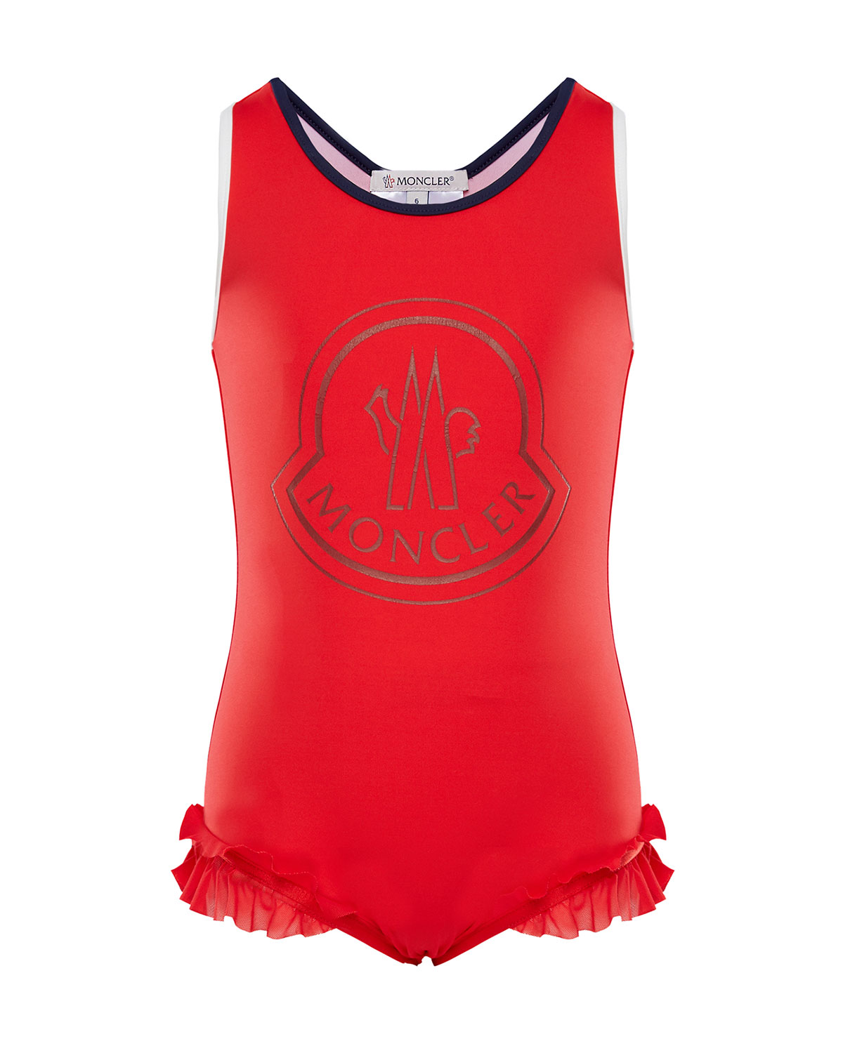 Moncler One-Piece Ruffle-Trim Swimsuit, Size 8-14