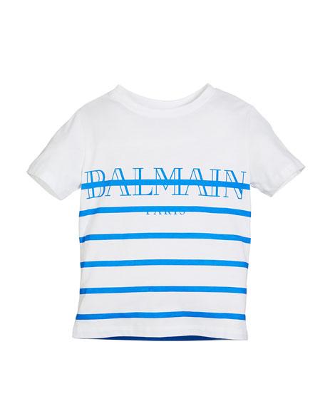 Balmain Striped Logo Short-Sleeve Tee, Size 12-16
