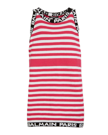 Balmain Striped Knit Sleeveless Dress w/ Logo Trim, Size 4-10