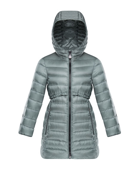 Moncler Suva Quilted Ruffle-Trim Hooded Jacket, Size 8-14