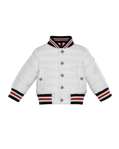 Striped-Trim Quilted Bomber Jacket  Size 12M-3
