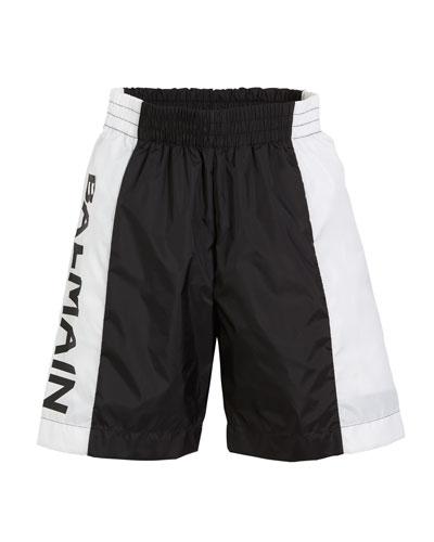 Two-Tone Logo-Sides Swim Shorts  Size 4-10