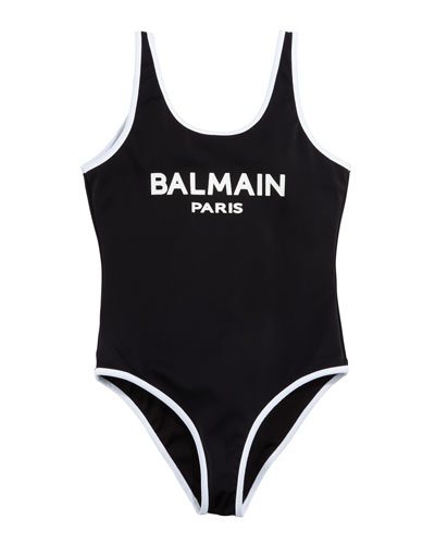 Two-Tone Logo One-Piece Swimsuit  Size 4-10