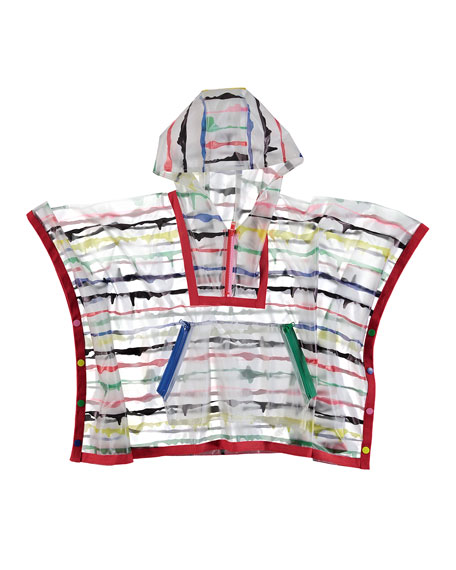 Stella McCartney Kids Painted Striped Hooded Rain Cape, Size 4-14