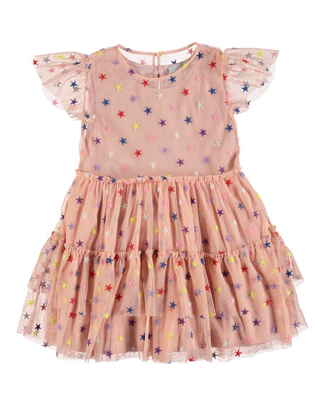Stella McCartney Kids Multicolored Embroidered Star Tiered Tulle Dress, Size 4-14